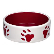 TRIXIE 24416 Миска керамическая 0.8 л o 16 см кремово красная с лапками