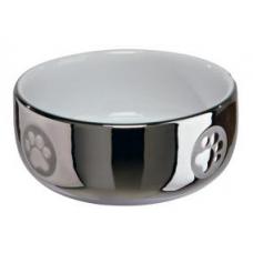 TRIXIE 24799 Миска для котов 0.3 л 11 см серебро с белым
