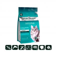 Сухой корм Arden Grange 8 кг, для кошек с деликатным желудком и/или чувствительной кожей с океанической рыбой и картофелем, беззерновой