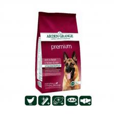 """Сухой корм Arden Grange (Арден Гранж) 12 кг, для взрослых собак """"Премиум""""со свежей курицей и рисом для привередливых животных"""