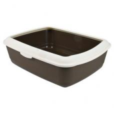 Trixie 40310 Туалет ля кошек пластиковый с рамкой  47х37х15 см коричневый с кремовым