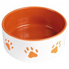 Trixie 24403 Миска для собак керамическая оранжевая с лапками