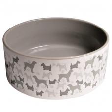 Trixie 24411 Миска для собак керамическая белая с собаками