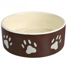 Trixie 24531 Миска керамическая коричневая с лапками 0,3 л    12 см