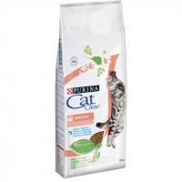 Корм Cat Chow (Кэт Чау) 15 кг, для кошек с чувствительной кожей и пищеварением, Sensitive