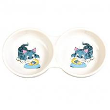Trixie 4014 Миска керамическая для кошек двойная  0,15 л