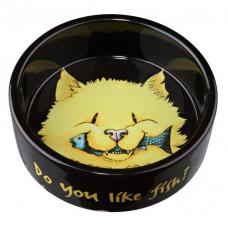 """Trixie 24794 Мискa """"Do you like fish"""" керамическая для кошек 0,3 л 12 см черная"""