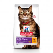 HILL'S SCIENCE PLAN Adult Sensitive Stomach & Skin Сухий Корм для Котів з Куркою 300 г