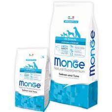 Купить MONGE DOG All breeds Hypoallergenic лосось с тунцом - 15 кг Фото 1 недорого с доставкой по Украине в интернет-магазине Майзоомаг