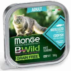 MONGE BWILD WET CAT Adult треска с овощами - 100 г