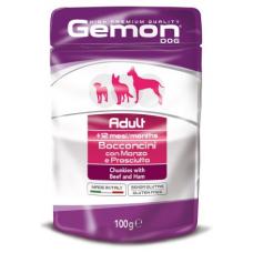 Купить GEMON DOG WET Adult кусочки с говядиной и ветчиной - 100 г Фото 1 недорого с доставкой по Украине в интернет-магазине Майзоомаг