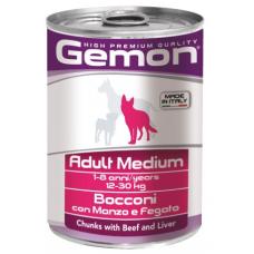 Купить GEMON DOG WET Medium Adult кусочки с говядиной и печенью - 415 г Фото 1 недорого с доставкой по Украине в интернет-магазине Майзоомаг